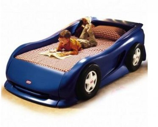 little boys race car bed in blue kids twin toddler new 0 bids 299