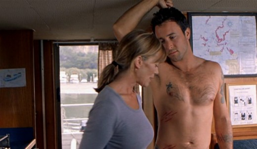 alex o loughlin tattoos. Lizard tattoo on Alex#39;s chest