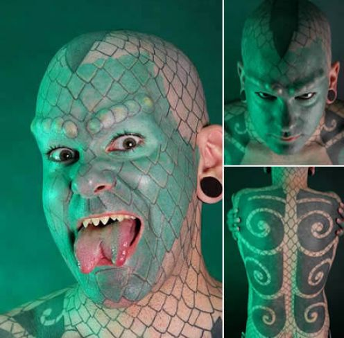Eric Sprague: lizard man. Eric Sprague was born 1972, one of the first person to have a fork tongue. He made himself as the transformation of human reptiles.