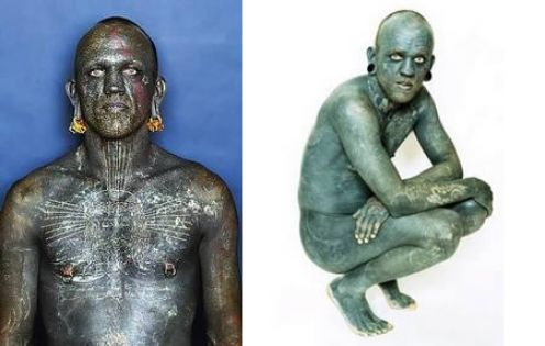Lucky Diamond Rich: Man with tattoo at most. Lucky takes over 1000 hours to modify the body to be like this.