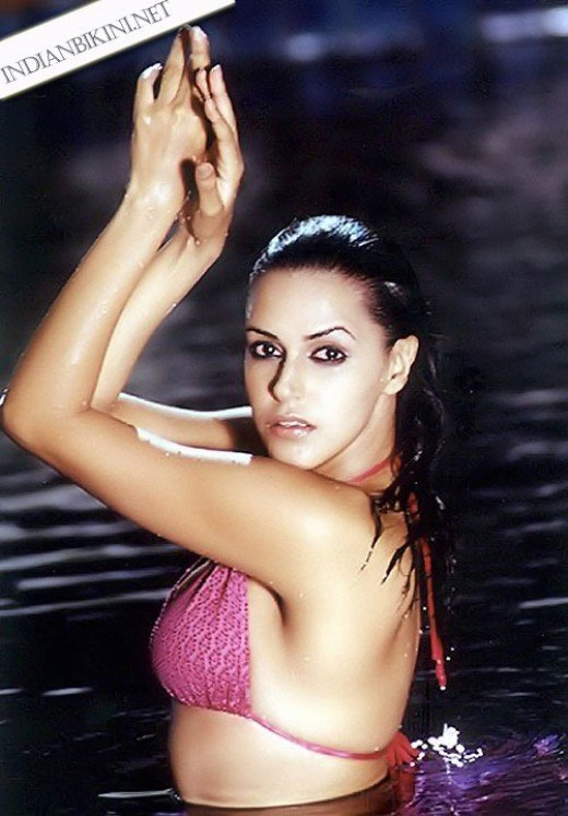 neha dhupia sexy wet bikini photoshoot wallpaper