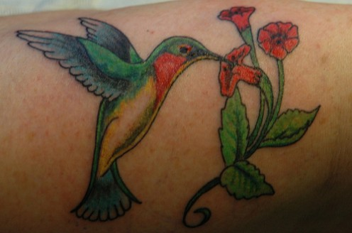 hummingbird and flower tattoo design for girl