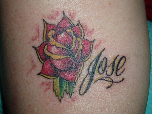name tattoo -With cute rose