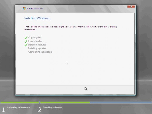 11. The installation now begins, and you can go and have lunch. Copying the setup files from the DVD to the hard drive only takes about one minute. However, extracting and uncompressing the files takes a good deal longer. After 20 minutes, the operat