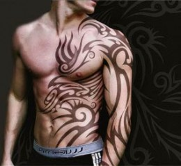 think this Japanese dragon tattoo in ethnic tribal style is awesome.