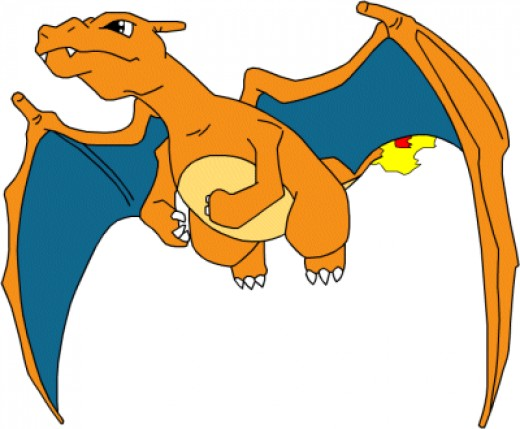 Charmander has the fire tip tail and he transforms into Charizard,