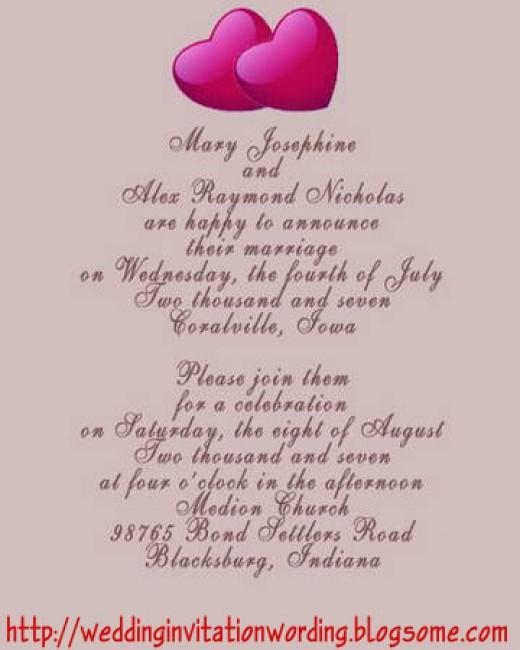 Eloped wedding invitation wording