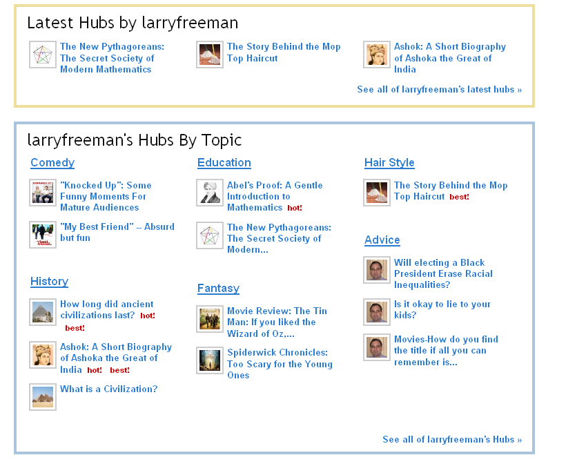 My Profile Page on HubPages