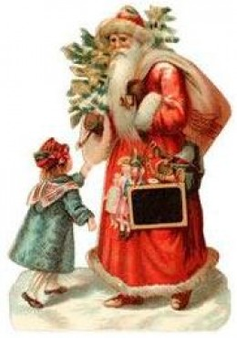 Vintage Christmas images: Santa and friend
