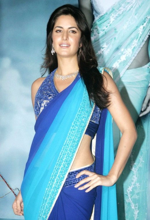 sexy picture in blue saree