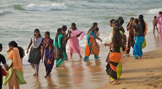 School Girls At Beach