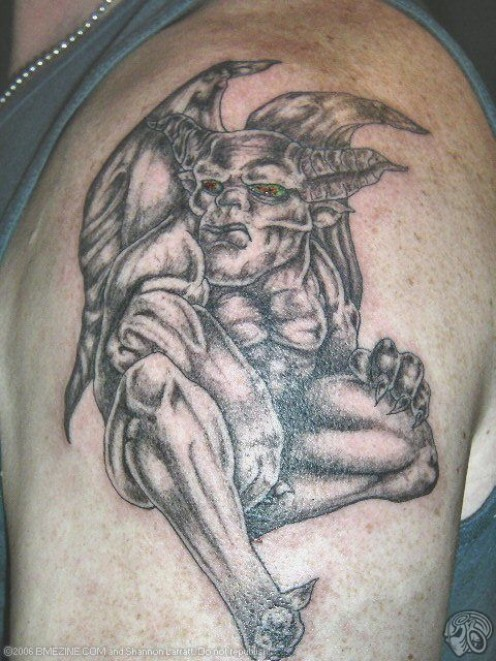 Skull tattoos and creepy tattoos, jester tattoos, gargoyle tattoos,