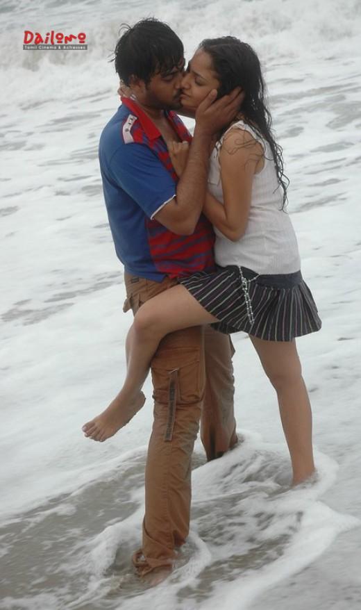 Fucking hot Lip Kiss of Maya Unni Tamil Actress in beach