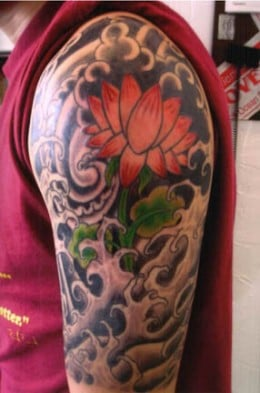 shoulders japanese lotus tattoo