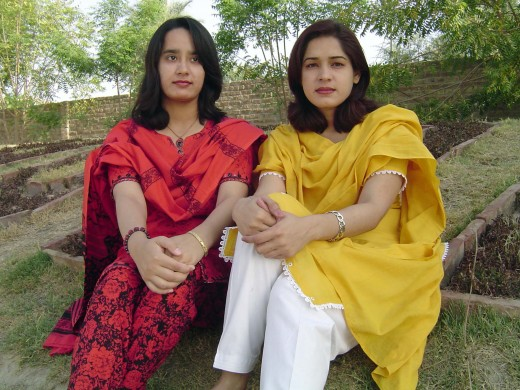 A group of school teachers from a rural area in the Punjab have sent us their pictures. These two ladies seem to be relaxing during school hours, probably taking a break from work. Though no students can be seen in the background, the setting reveals