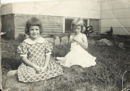 My sister, Susan, with the dark hair and me.