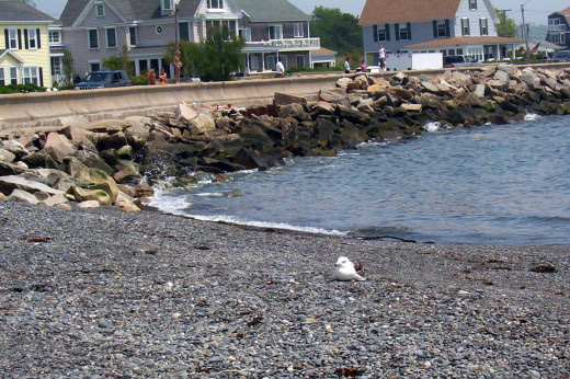The beach and vintage cottages at Kennebunkport in Maine.