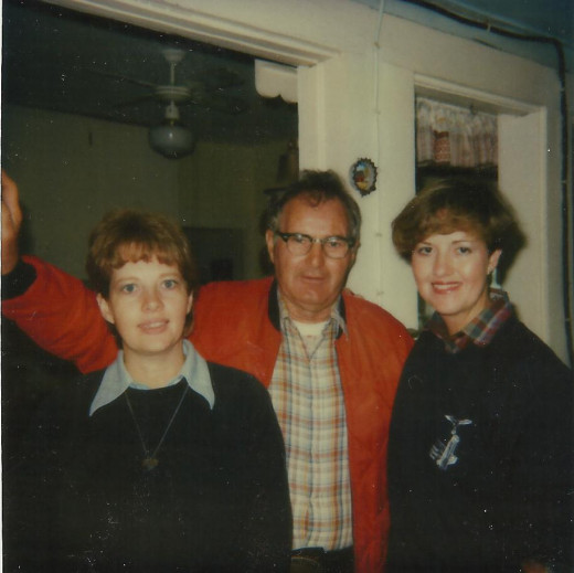 Dad with me and my sister, Karen.