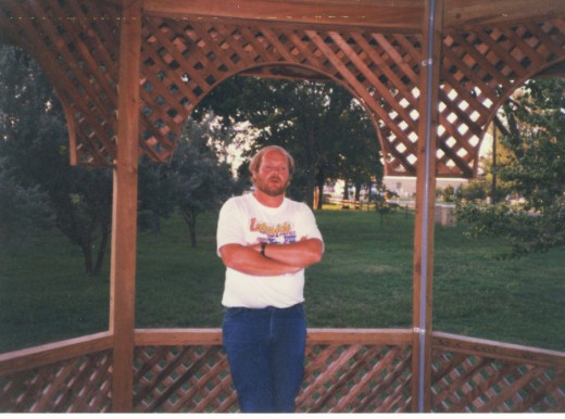 The two gazebos are in the park at El Dorado, Kansas.
