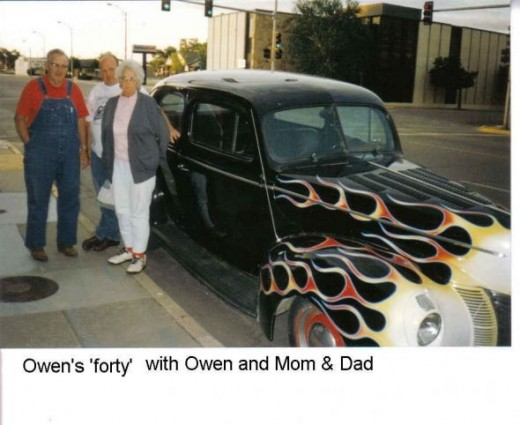 Clyde and Gail Martin with Owen's forty Ford roadster.