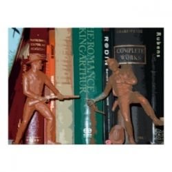 Plastic cowboys play out a scene on the bookshelf.