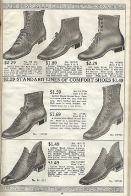 """Labeled """"Comfort Shoes"""" - Note the Wider Toe on These Shoes from 1918"""