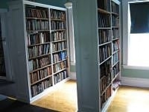 Shelving in the East Wakefield Library in NH.