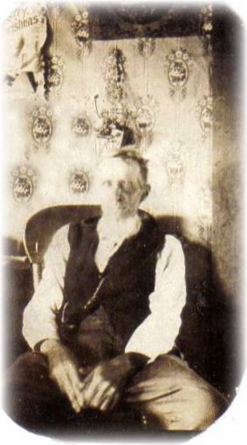 The wallpaper is different from the photo of Abraham's grandson (below) but I'm guessing the pictures were taken about the same time. There are few Tower and McGhee family photos taken in Tyro, Kansas prior to 1920.