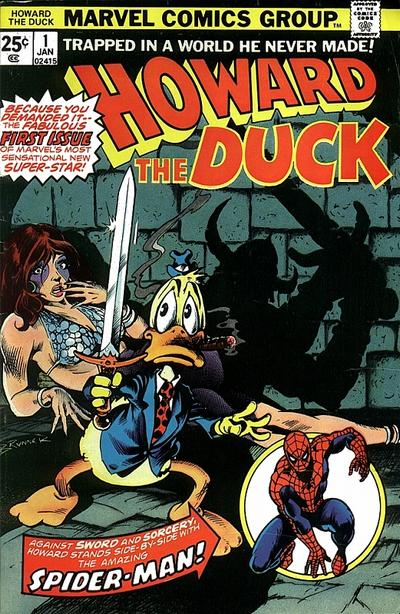 The first issue of Howard the Duck. Not fully convinced a talking duck would sell comic books, Spider-Man made a guest appearance to help boost sales.