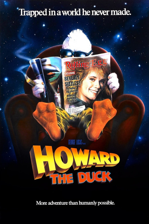 Another movie poster where you can't see Howard.   When studios pulled this trick, it was to build anticipation for the film, although in this case it may have been so no one could see how crappy the costume was.