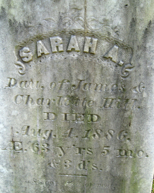 Sarah A. (daughter of James and Charlotte Hill)