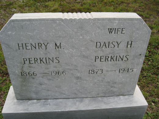 Newer stone for Henry M and Daisy H Perkins.