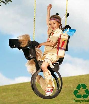 swing horse indian children