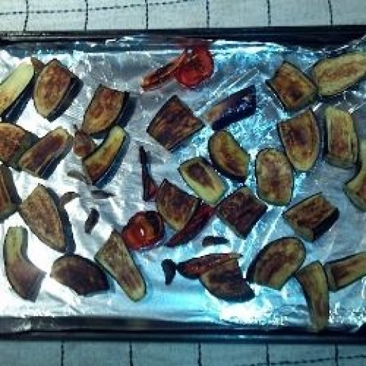 Spread the vegetables on a cookie sheet and broil until brown.