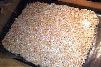 Make a pan of thin Rice Krispy treats on a sheet of wax paper.