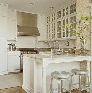 white kitchen with stainless steel