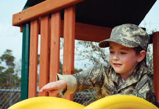 [Photo: Wish.org] -- Louis (Burkitt lymphoma, age 4) wishes to have a military-style playhouse.