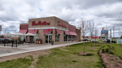 Located at Dunham Drive in Alliston this is the modern Tim's complete with patio and galley style seating. Large car park and located outside town.