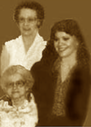 My mother Izzy, me at age 20, and my grandma Ethel