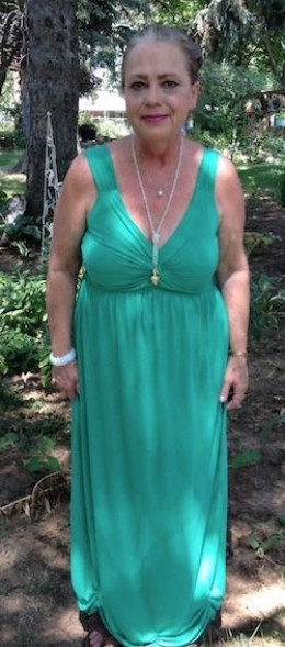 """A """"photo shoot"""" for the back cover of my crochet design book. I had to shorten this dress quite a bit! This was at my """"regained 10 pounds"""" weight just before I got serious again."""