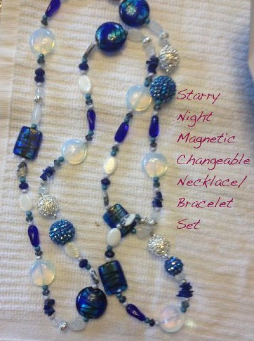 Starry Night set in blues and translucence - blue topaz, opaline, sodalite, lapis, pearls, more...