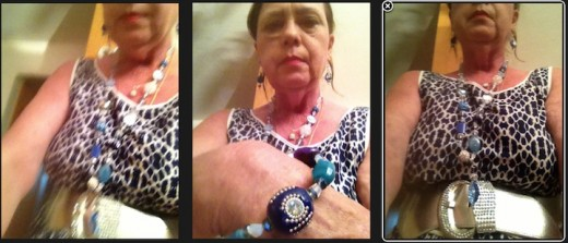 Demonstrating the bracelet and necklace worn in different ways.