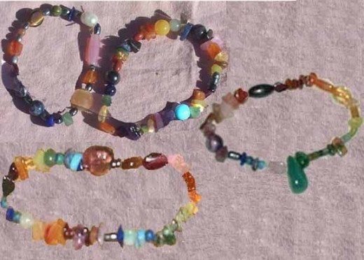 Rainbow gemstone bracelets, all semi-precious stones on elastic.