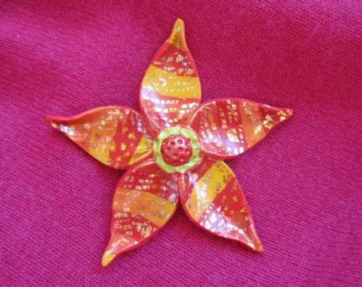 Polymer clay fantasy flower brooch designed, created and photographed by Margaret Schindel