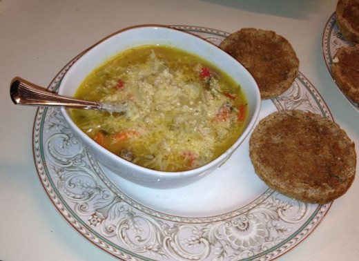 Here's my soup w/ freshly grated Reggiano-Parmigiano Italian Parmesan cheese and toasted whole-grain English muffins. Image credit: Margaret Schindel