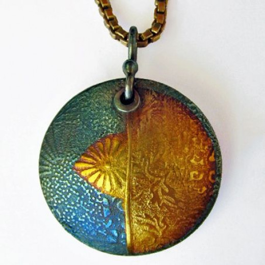 Fine silver metal clay pendant with 24k gold keum-boo accents and iridescent patina