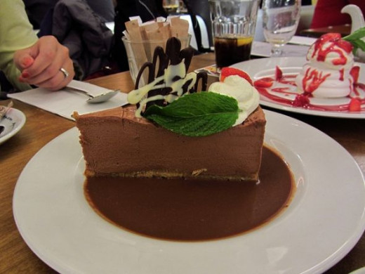 A luscious slice of chocolate cheesecake