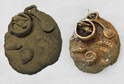 Beach scene charm made from bronze metal clay show before and after to show the shrinkage. The bronze clay charm is shown before firing on the left and after firing and finishing on the right.