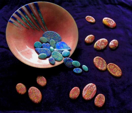 Polymer clay mokume gane cabochons