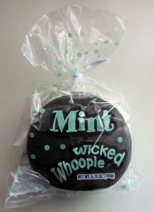 An authentic Maine Wicked Whoopies mint whoopie pie, my husband's favorite flavor